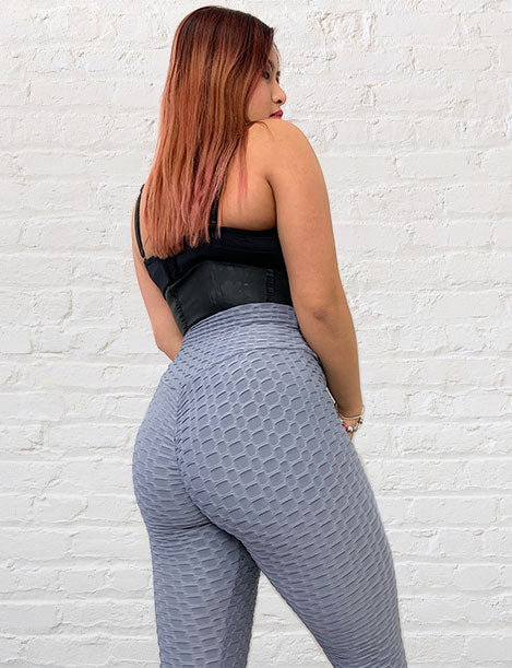 "'Bootylicious"" Textured Butt Lift Leggings w/ Scrunch Booty Gray"