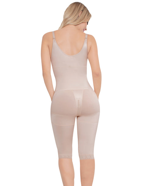 long short beloew the knee body shaper with zipper in the crotch for easy bathroom use