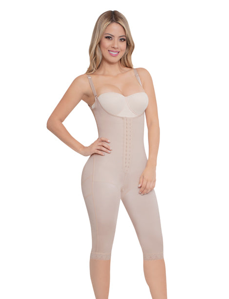 long short below knee body shaper with center hook and adjustable straps