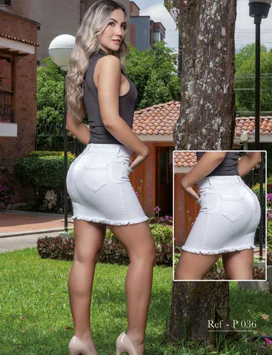 colombian woman wearing denim white skirt with high heels