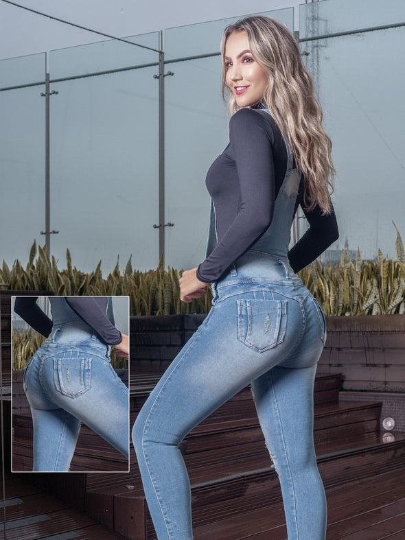 overall denim colombian butt lift jeans with blonde hair