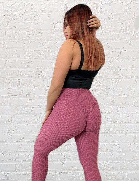 "'Bootylicious"" Textured Butt Lift Leggings w/ Scrunch Booty Muave"