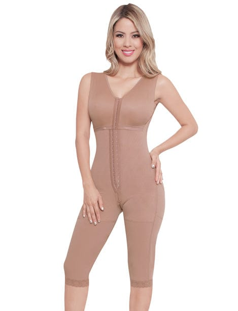 full body colombian shapewear with bra and center hooks short to the knee