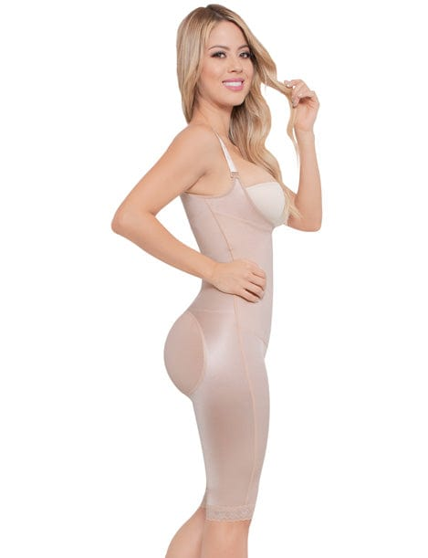 smooth compression shapewear with butt lifter short to the knee