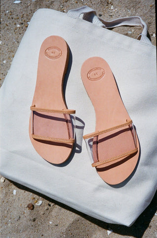 Grecian Translucent Slide Sandal Black