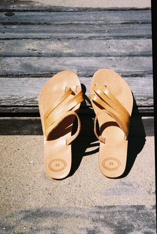 Grecian Translucent Slide Sandal Natural