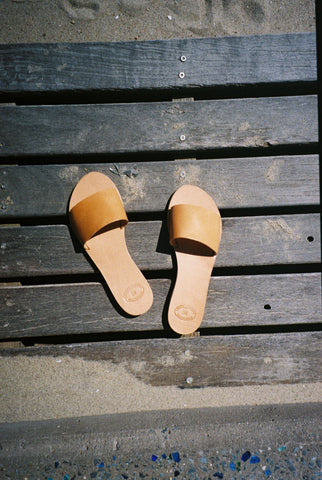 Greecian Leather Slide Sandal