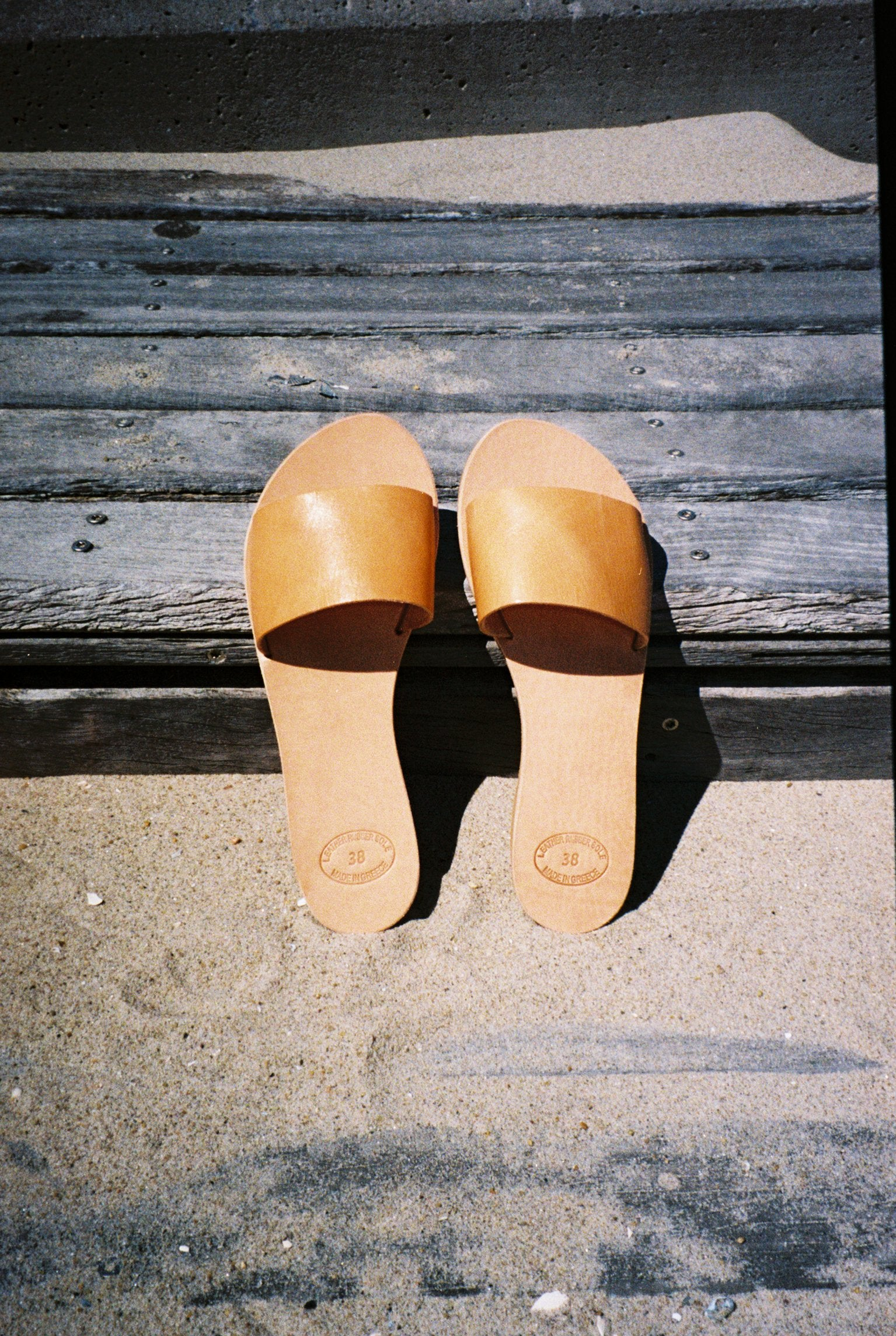 Grecian Leather Slide Sandal