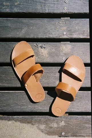 Greecian Leather Double Strap Sandal