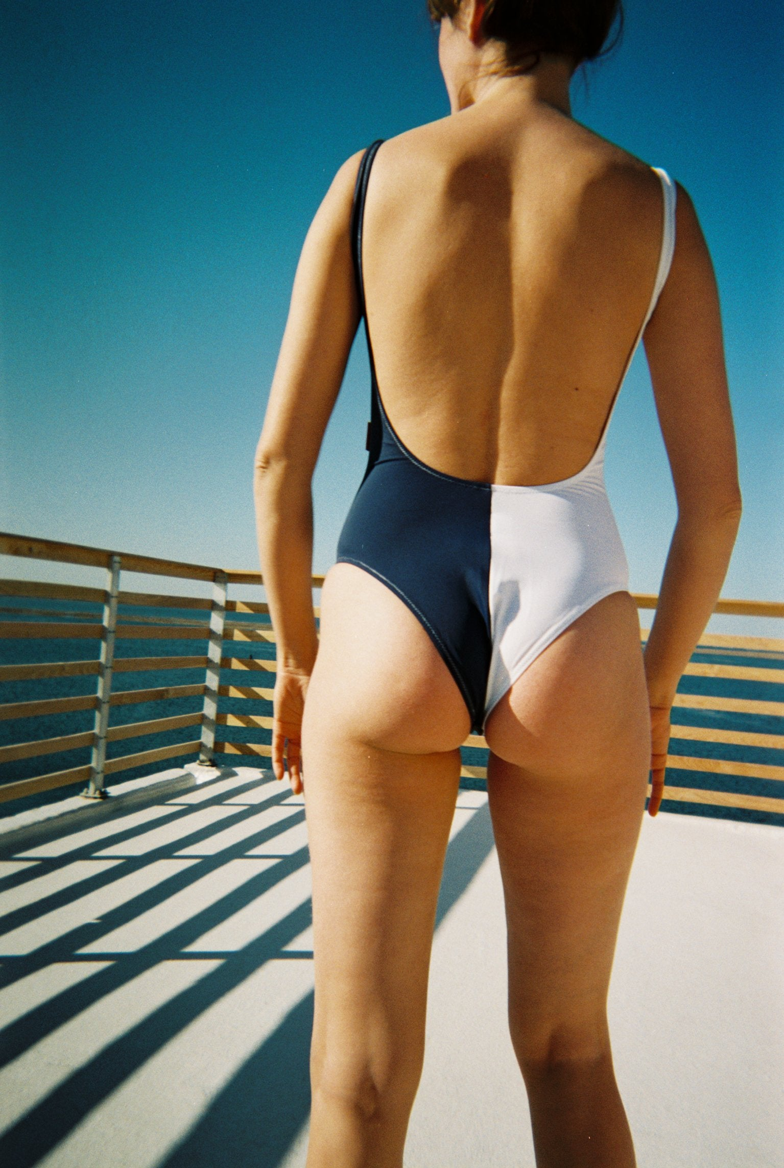 Hapa One Piece Swimsuit White + Navy