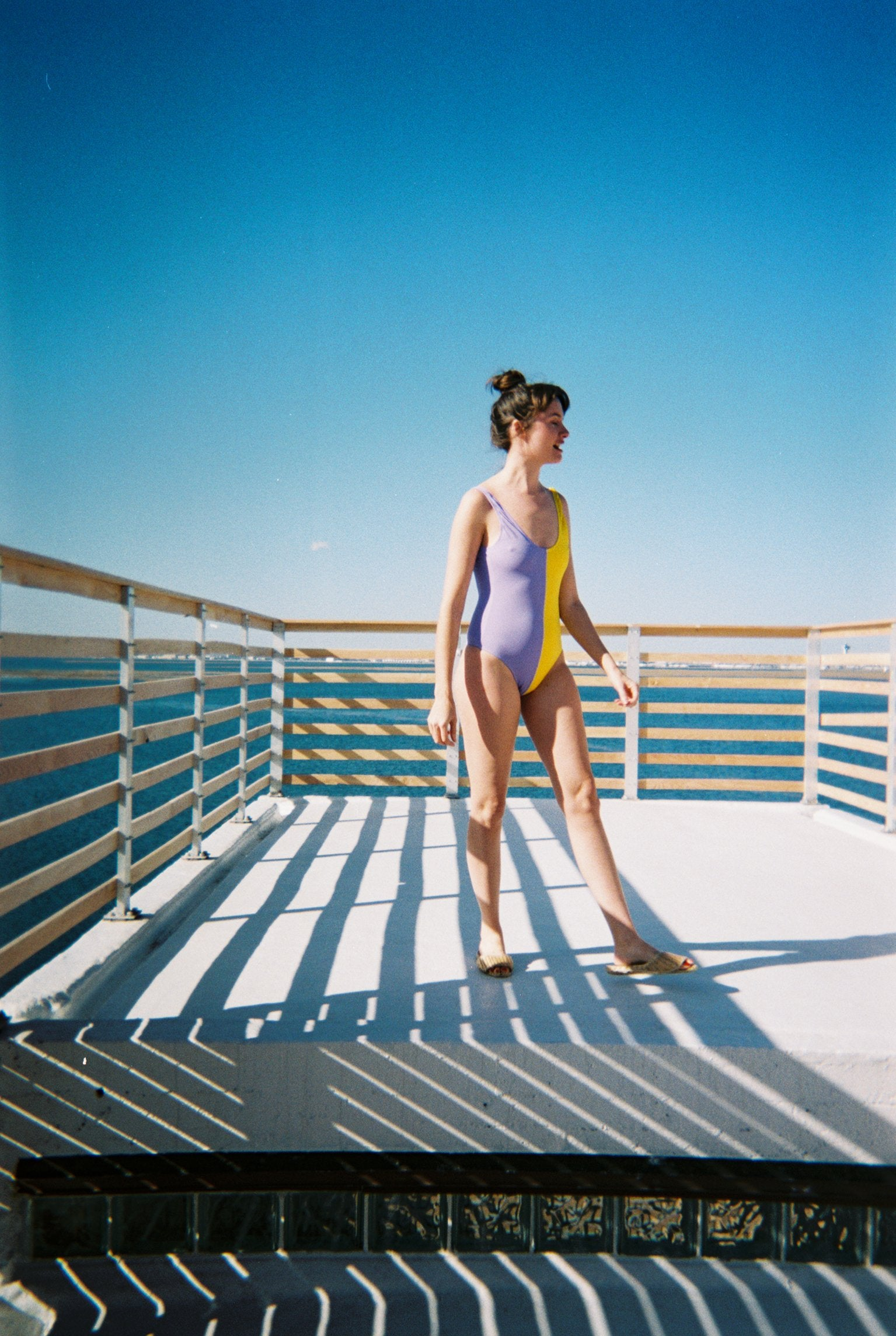 Hapa One Piece Swimsuit Lilac + Yellow