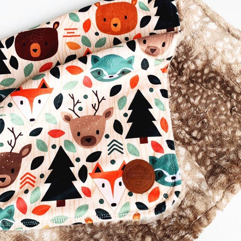Large Vintage Woodland Triple Layer Blanket