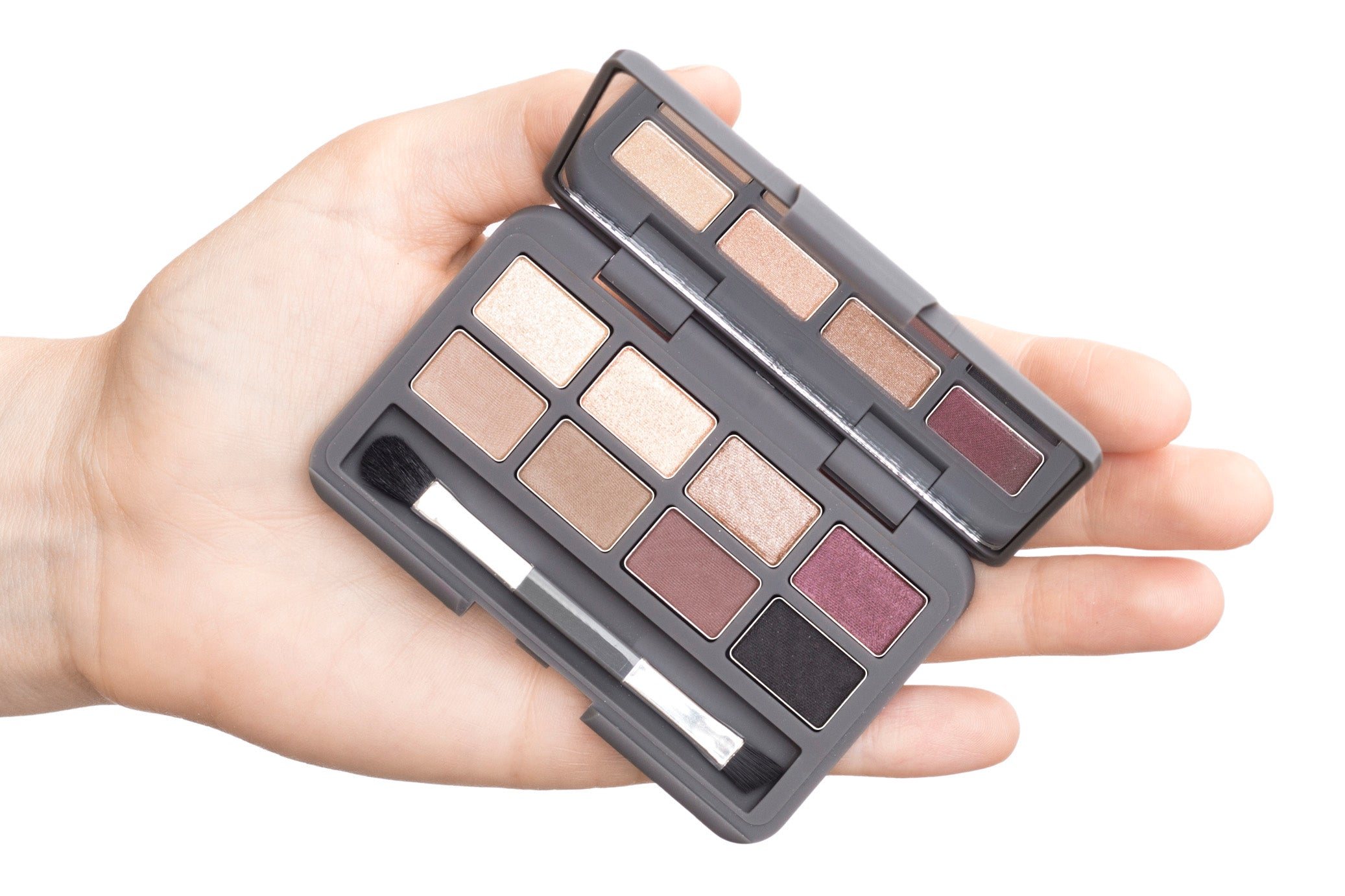 Stowaway Eye Palette balanced on a hand