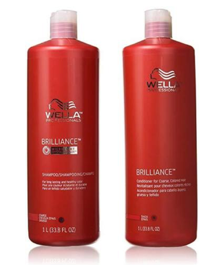 Wella Brilliance Shampoo and Conditioner for Coarse Colored Hair 33.8 oz