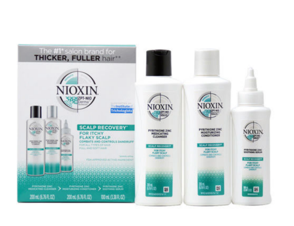 Nioxin Scalp Recovery Kit  Cleanser 6.8oz Conditioner 6.8oz, Serum 3.4oz