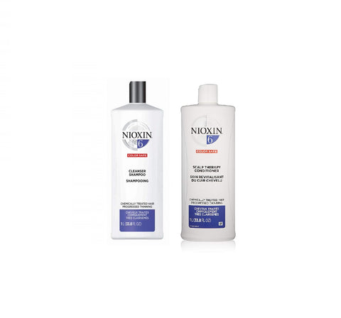 Nioxin System 6 Cleanser Shampoo and Scalp Therapy Conditioner Chemically Treated Hair 33.8 oz