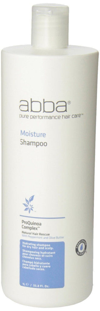 Abba Moisture Shampoo For Dry Hair And Scalp 33.8 Oz 1 Liter