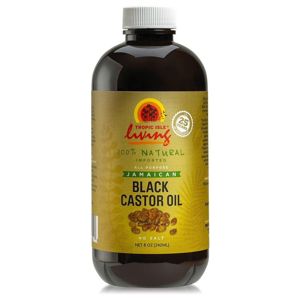Tropic Isle Living Jamaican Black Castor Oil  Glass Bottle 8 oz