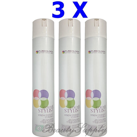 Pureology Strengthening Control Zero Dulling Hairspray 11 oz Pack of 3