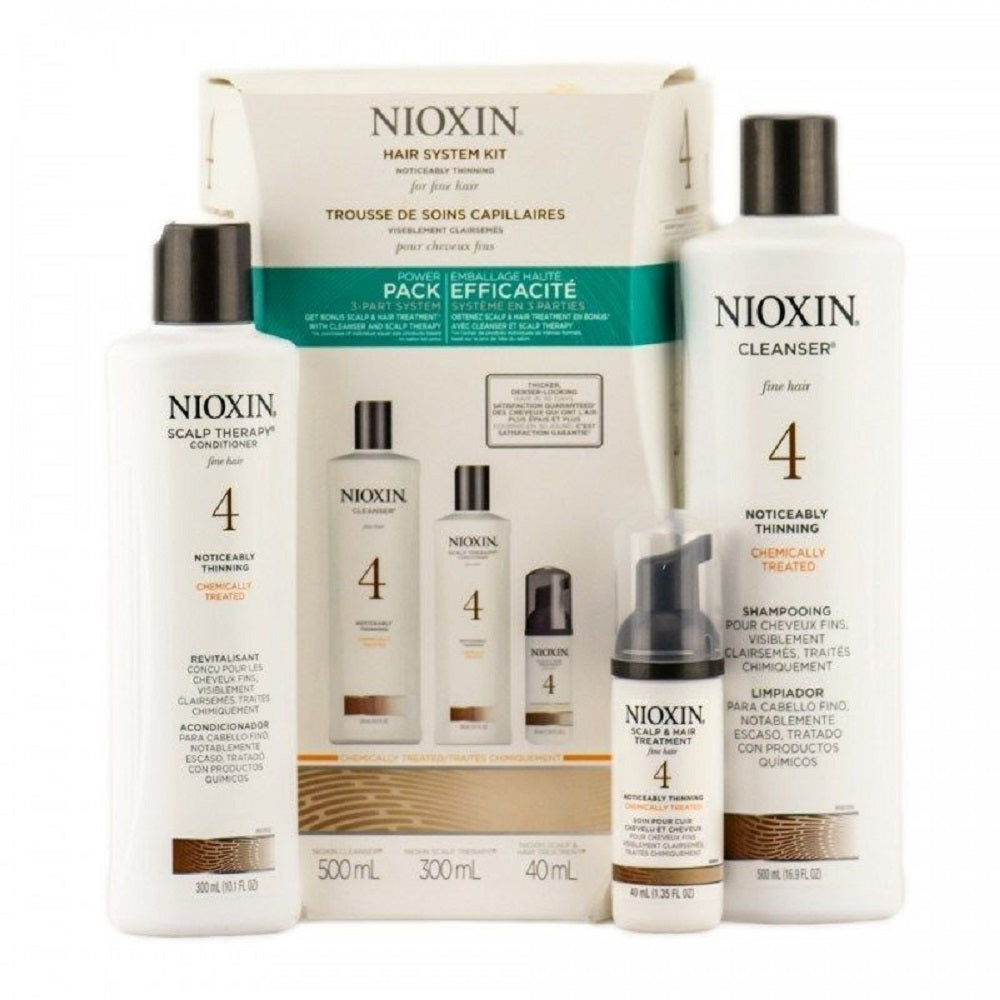 Nioxin System 4 Power Pack 3 Piece Kit Cleanser And Scalp Therapy Treatment