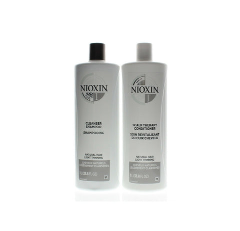 Nioxin System 1 Cleanser Normal to Thin for Untreated Hair Shampoo and Scalp Therapy Conditioner 33.8oz Duo Set