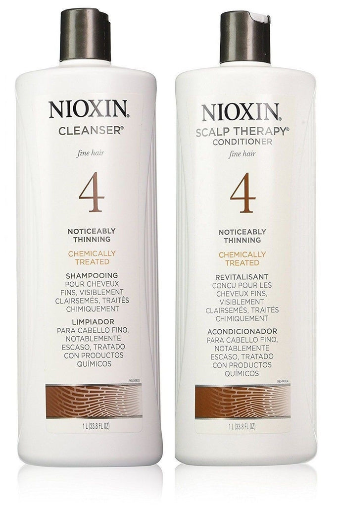 Nioxin System 4 Cleanser And Scalp Therapy For Fine Treated Hair Duo Set 33.8 Oz