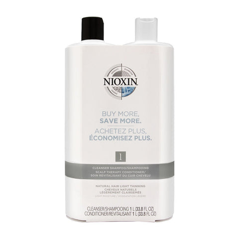 Nioxin System 1 Liter Duo Cleanser + Scalp Therapy, Natural Hair Light Thinning