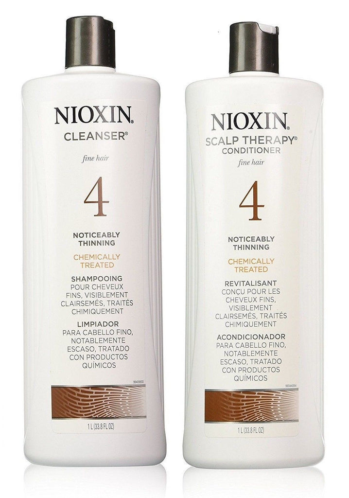 Nioxin System 4 Cleanser & Scalp Therapy for Fine Treated Hair Duo Set 33.8 Oz