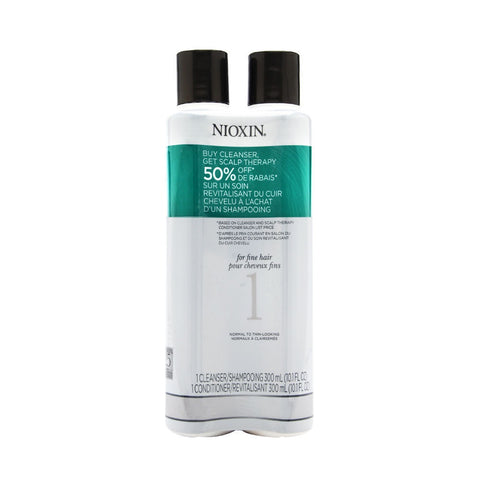 Nioxin System 1 Duo Cleanser + Scalp Therapy, Fine Hair Normal To Thin 2 x 10.1