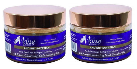 THE MANE CHOICE Ancient Egyptian 24 Karat Gold Twisting Gel PACK OF 2 Size 12 Oz Each