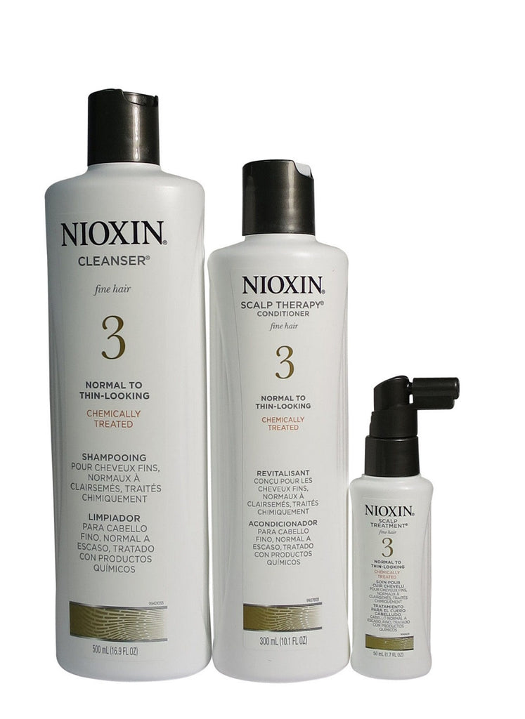 Nioxin System 3 Kit Cleanser 16.9 oz, Scalp Therapy 10.1 oz , Treatment 1.7 oz .