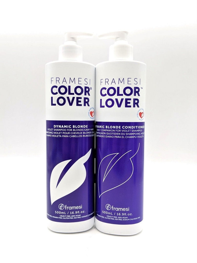framesi COLOR LOVER Dynamic Blonde Violet Shampoo And Conditioner 16.9 Oz