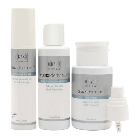 Obagi Clenziderm M.D. Acne Therapeutic System 3 Piece Set - Brand New