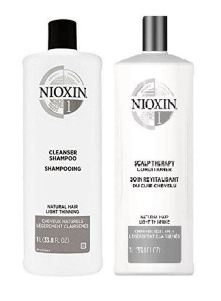 Nioxin System 1 Cleanser And  Scalp Therapy Duo 33.8 Oz/ 1L  NEW