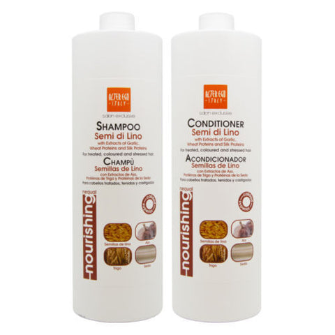 Alter Ego Semi De Lino Shampoo & Conditioner with Garlic 33.8oz/Free Nail File.