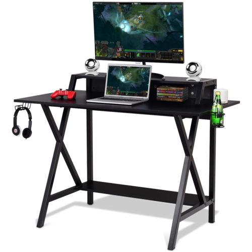 Gaming Desk All-In-One Professional Gamer Desk Cup Headphone Holder Power Strip