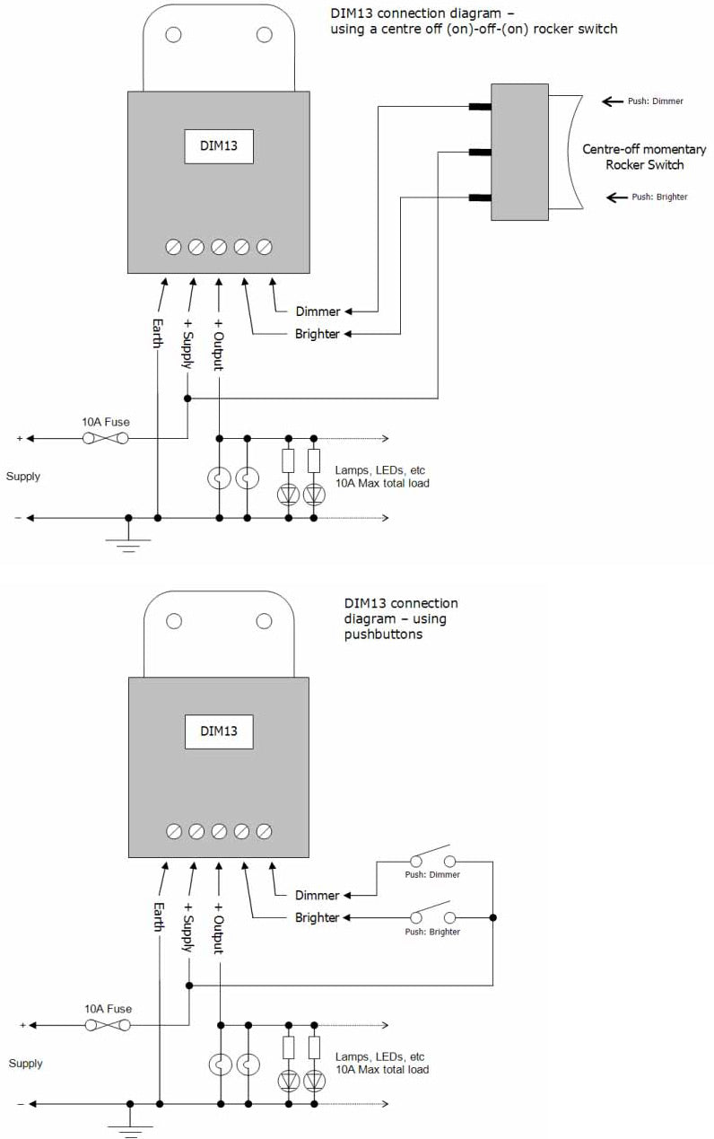 LED Marine PMW Dimmer connection diagrams
