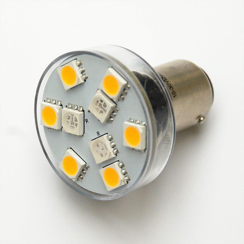BA15D 9 SMD 5050 LED Red / White Switchable