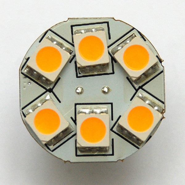 G4 6 SMD 5050 LED Planar Disc Lamp: Back Pin, Protected