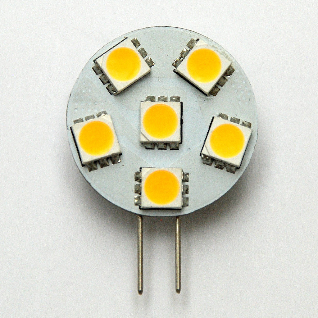 G4 6 SMD 5050 LED Planar Disc Lamp: Side Pin, Protected
