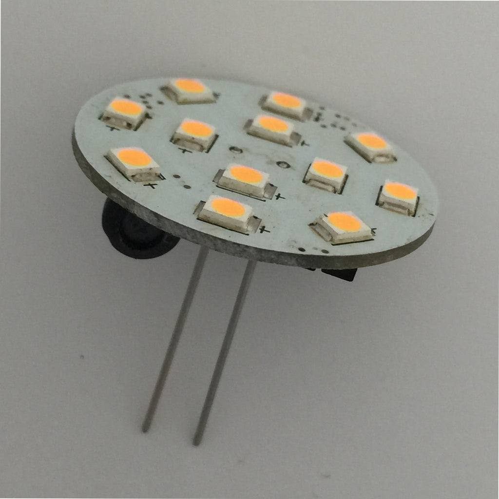 G4 12 SMD 2835 High Output LED Planar Disc Lamp: Long Back Pin, Protected
