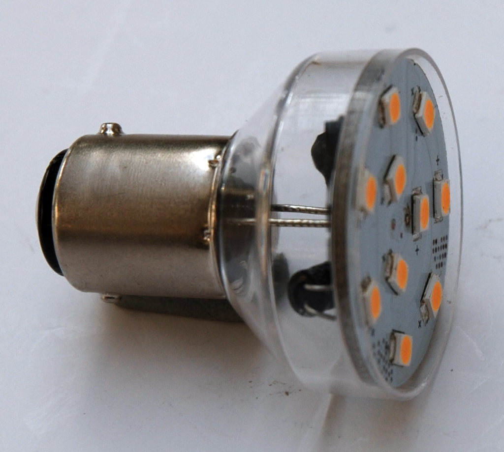 BA15D 10SMD 2835 High Output LED Lamp: Short Neck