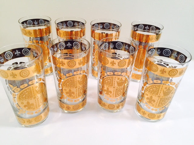 Vito Bari - Signed 22 Karat Gold 1960's Gold Crest Glasses (Set of 8)