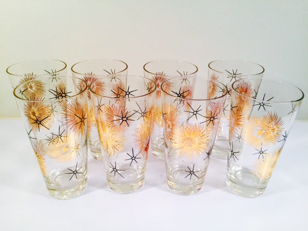 Federal Glass Mid Century 22 - Karat Gold and Black Retro Atomic Glasses (Set of 8)