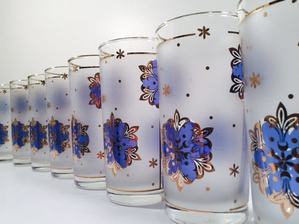 Libbey - Blue and 22-Karat Gold Frosted Star/Snowflake Glasses (Set of 8)