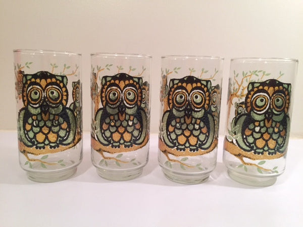 Classic 1970's Retro Owl Medium Size Glasses (Set of 4)