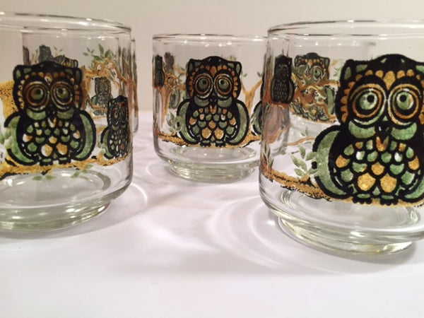 Classic 1970's Retro Owl Short Glasses (Set of 7)