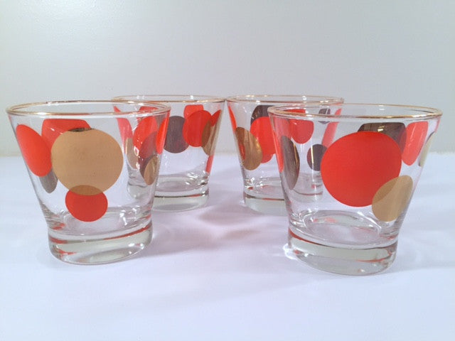 Russel Wright Mid-Century Red & 22-Karat Gold Eclipse Small Glasses (Set of 4)
