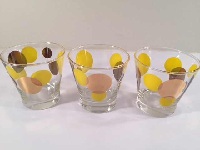 Russel Wright Mid-Century Yellow & 22-Karat Gold Eclipse Small Glasses (Set of 3)