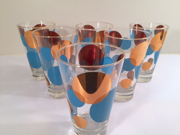 Russel Wright Mid-Century Bright Blue & 22-Karat Gold Eclipse Tumbler Glasses (Set of 6)
